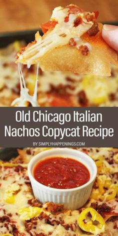 Old Chicago Italian Nachos Copycat Recipe: Italian nachos with pepper rings, Italian sausage crumbles, pepperoni, mozzarella cheese, and crispy fried wonton chips served with marinara dipping sauce. Tostadas, Tacos, Guacamole, Italian Appetizers, Appetizer Recipes, Delicious Appetizers, Delicious Dishes, Dinner Recipes, Quesadillas