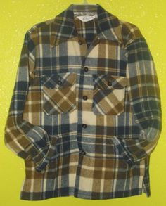VINTAGE WOOLRICH BROWN BLUE PLAID BLANKET 100% PURE WOOL JACKET-POCKETS- SZ M #WOOLRICH #BasicJacket