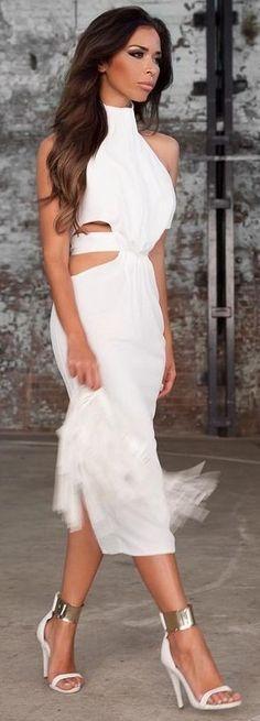 White Cut Out Maxi Dress                                                                             Source