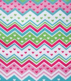 Snuggle Flannel Fabric- Heart Chevron