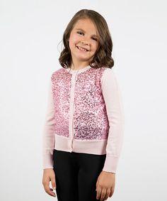 Look at this #zulilyfind! Ballerina Pink Mini Sequin Cardigan - Girls #zulilyfinds