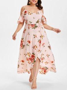 AZULINA Plus Size Cold Shoulder Belt Overlap Dress Women Spaghetti Strap  Half Sleeves Floral Print Dresses Bohemian Beach Dress 6a3aefa44da7