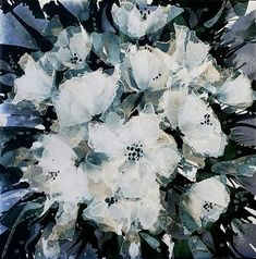 """Bouquet Alcohol ink on 6"""" tile By Jewel Buhay"""