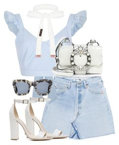 """""""Untitled #3977"""" by theeuropeancloset ❤ liked on Polyvore featuring River Island, Schutz, Miu Miu, Illesteva and Cybele"""