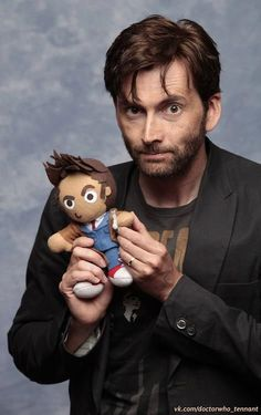 I don't usually go for Tennant, but I am digging the beard.  So David Tennant got a hold of one of my tenth doctor plushes... - Imgur