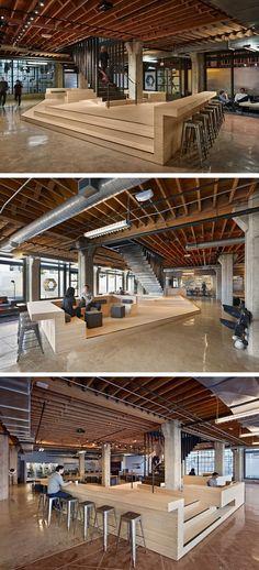 Mooie podia in een grote werkomgeving, hierdoor aparte ruimtes gecreëerd waar men kan werken, lunchen, overleggen etc.