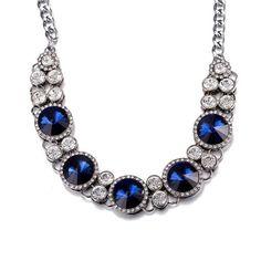 Aventura Jewellery White Gold Plated Circular Sapphire Swarovski Statement Necklace