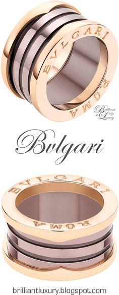 Brilliant Luxury ♦ Bvlgari B.Zero1 'Roma' 4-band 18 kt rose gold ring with bronze ceramic UDATED