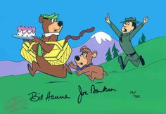 """""""Escape From Ranger Smith"""" features Yogi Bear, Boo-boo and Ranger Smith. This Hand-Painted Limited Edition Cel is signed by  William Hanna and Joseph Barbera."""