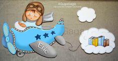 "Silueta de Madera ""Niño Aviador con Nube de Libros"" 60x60cm - AGuguGaga Decoración Infantil Exclusiva"