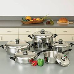 10pc 12-Element 'Waterless' T304 Stainless Steel Cookware Set W/Thermo Knobs -- Details can be found by clicking on the image.