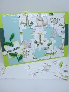 A fun card for any age, using the Love You to Pieces bundle and the Animal Expeditions DSP, both found in the Stampin Up! Love You To Pieces, Abc For Kids, Interactive Cards, Kids Birthday Cards, Card Maker, Puzzle Pieces, Cool Cards, Kids Cards, Stampin Up Cards