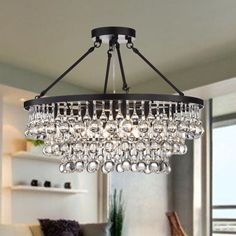 Shop for Arosa Black Semi Flush Mount. Get free delivery at Overstock - Your Online Ceiling Lighting Store! Get in rewards with Club O! Flush Mount Chandelier, Hanging Chandelier, Ceiling Chandelier, 5 Light Chandelier, Flush Mount Lighting, Ceiling Lights, Ceiling Fans, Dinning Room Chandelier, Acrylic Chandelier