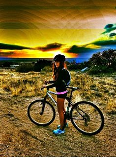 #mountain biking girl #mtb #sunset