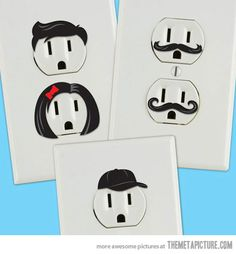 Outlet mustache stickers