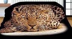 Čierny prehoz na posteľ obojstranný s realistickou potlačou leoparda