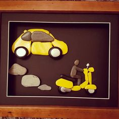 A bit of colourful pebble art for a change. Loved this challenge #fiat500 #yellowcar #fiat #car #vespa #yellowvespa #pebble #pebbleartist #localbusiness #llandrindodlife