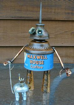 """""""THE MORNING WALK"""" Found Object Robot & Dog Sculpture Assemblage by Sally Colby"""