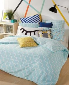 Scribble Reversible 3-Pc. Zig-Zag Full/Queen Duvet Cover Mini Set - Blue