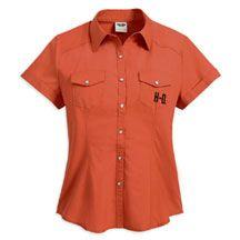 Women's Bar & Shield Logo Short Sleeve Woven Shirt | MotorClothes® Merchandise | Harley-Davidson USA