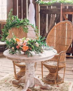 Bohemian Wedding Ideas and Inspiration with Decor by Something Vintage Rentals Perfect for Brides and Couples with Boho Style. Head Table Wedding, Wedding Chairs, Handmade Decorations, Table Decorations, Wicker Peacock Chair, Farm Dining Table, Indoor Wedding Receptions, Creative Wedding Ideas, Sweetheart Table