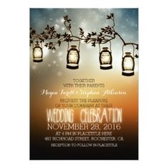 Cute oil lantern lights hanging from a tree branch rustic wedding invitations.  Featured at the Wedding Blog at Casual Rustic Chic.  Fun for outdoor weddings.