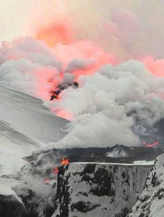 Flowing lava vaporizing snow - Fimmvorduhals, Iceland.  ✈✈✈ Here is your chance to win a Free Roundtrip Ticket to anywhere in the world **GIVEAWAY** ✈✈✈ https://thedecisionmoment.com/free-roundtrip-tickets-giveaway/