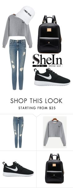 """""""Grey alien patch shirt"""" by nekyaboo ❤ liked on Polyvore featuring Frame Denim, NIKE and NASASEASONS"""