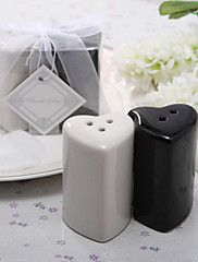 Ceramic Double Hearts Salt & Pepper Shakers Wed... – AUD $ 2.30