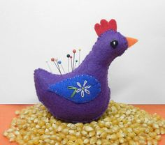Sweet Chicken Pincushion in Your Custom Colors by MockingbirdWorkshop