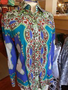 ETRO Paisley Shirt Bright Multi-color Cotton Size L 44 Long Sleeve Italy EUC $99