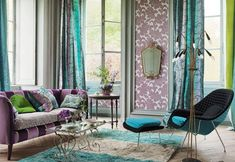 Turquoise and purple decor