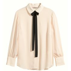 H&M+ Blouse with a tie ($38) ❤ liked on Polyvore featuring tops, blouses, shirts, plus size, light beige, womens plus tops, pink top, plus size blouses, pink blouse and tie blouse