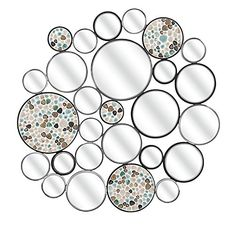 4075 Running in Circles Blue Mosaic Pebble and Black Decorative Round Wall Mirror -- This is an Amazon Affiliate link. Want to know more, click on the image.