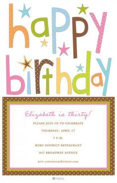 Happy Birthday invitation - we'll custom print or diy!  Paper FancyHappy Birthday