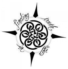 Disegno per tatuaggio bussola con nodo celtico