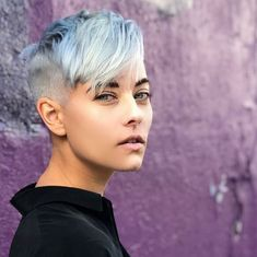 Bluish White Undercut Pixie Haircuts 2018-2019