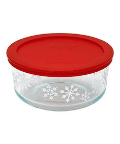Loving this Red Snowflakes 4-Cup Food Storage Container on #zulily! #zulilyfinds