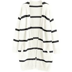 Drop Shoulder Striped Cardigan With Pockets Off-white ($31) ❤ liked on Polyvore featuring tops, cardigans, pocket cardigan, stripe cardigan, pocket tops, striped top and drop shoulder tops