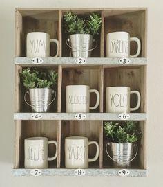 9 slot Target cubby with Rae Dunn mugs Farmhouse style