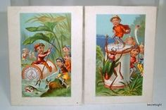 2 Trade Card Clarke Co Sewing Children Insects Ponds 4598 | eBay