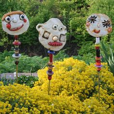Granville Art Affair & Wine Festival - garden totems with clay faces