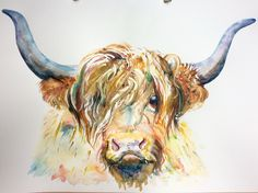 Highland cow watercolour painting . By Emma Underwood.