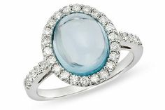 4 Carat Cabochon Blue Topaz and 1/2 Carat Diamond 14K White Gold Ring
