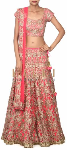 Buy this Pink lehenga adorn in zari and kundan embroidery only on Kalki