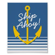 Nautical wall poster decor | Yellow boat anchor