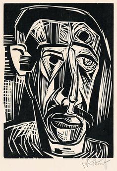 "Karl Schmidt-Rottluff  Rottluff 1884 – 1976 Berlin     ""KOPF EINES MANNES""  1922. Woodcut on Japan paper.   27,8 x 19,9 cm (40,7 x 30 cm) (11 x 7 ⅞ in. (16 x 11 ¾ in.))"