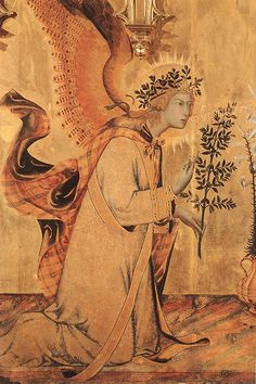 Simone Martini ~ The Annunciation and Two Saints (St. Margaret and St. Ansanus) (detail of Angel), 1333