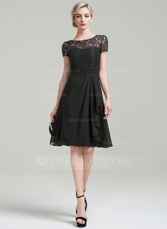 MOB/G dress ----- A-Line/Princess Scoop Neck Knee-Length Cascading Ruffles Zipper Up Sleeves Short Sleeves Yes Black General Plus Chiffon Lace Mother of the Bride Dress Mother Of The Bride Trousers, Mother Of The Bride Gown, Mother Of Groom Dresses, Bride Groom Dress, Mothers Dresses, Bride Dresses, Short Mothers Dress, Chiffon, Gowns With Sleeves