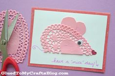 """""""Squeak"""" some happiness into someone's day with these adorable HAVE A MICE DAY – DOILY MICE CARDS! Turn ordinary paper doilies into one-of-a-kind pieces within minutes! Whether you make them by yourself OR get the kids involved in the craftiness, this DIY paper craft is sure to be a delight for the maker AND receiver! …"""